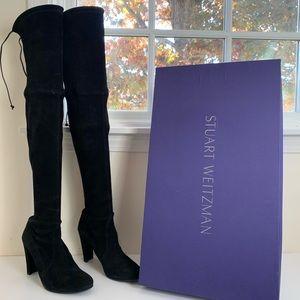 Stuart Weitzman Highland Black Suede Boots